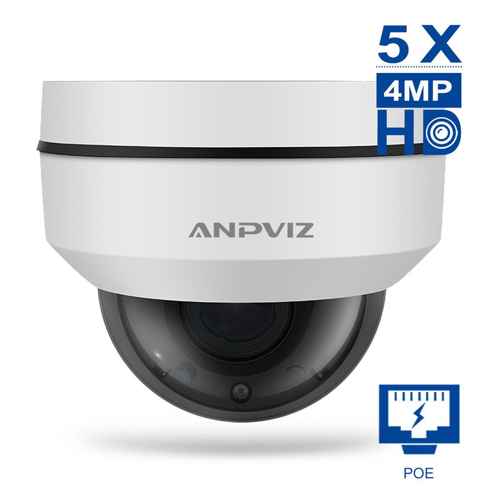Anpviz 5X 4MP Mini Dome outdoor Water-Proof PTZ Camera Motorized Zoom 2.7-13.5mm Video Surveillance PoE IP Camera