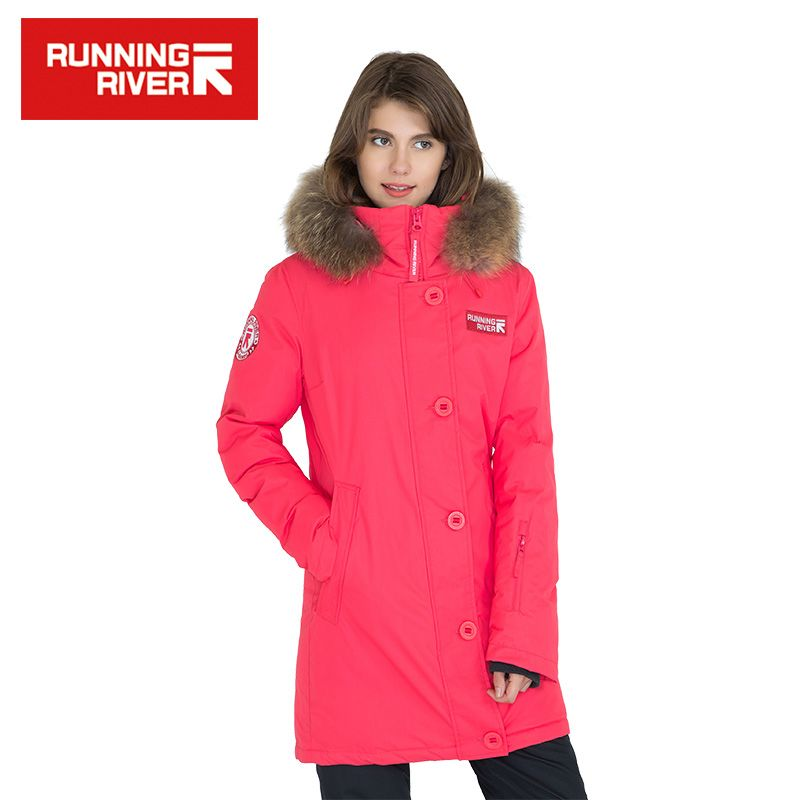 RUNNING RIVER Brand Women Hooded Mid-thigh Down Jackets Solid Color High Quality Warm Winter Sport Jacket Outdoor Clothes #D6143