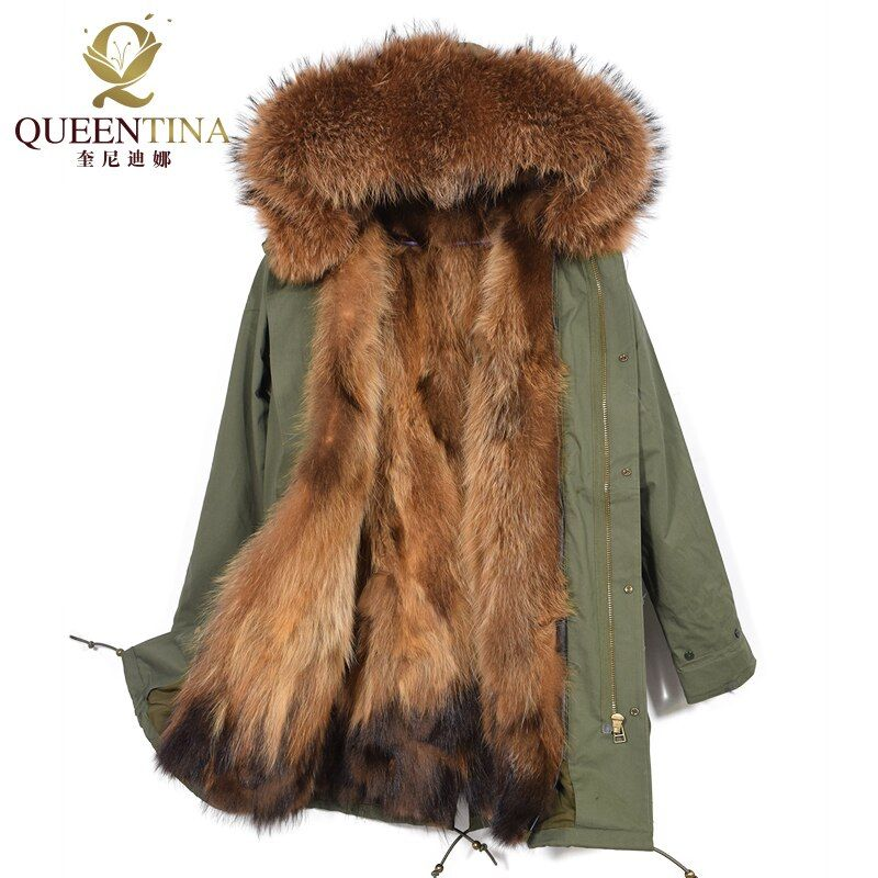 Real Fur Parka Winter Jacket with Hood Warm Coat Thick Real Fur Parkas Women Natural Fur Jacket Raccoon Fur Collar Coats Hooded