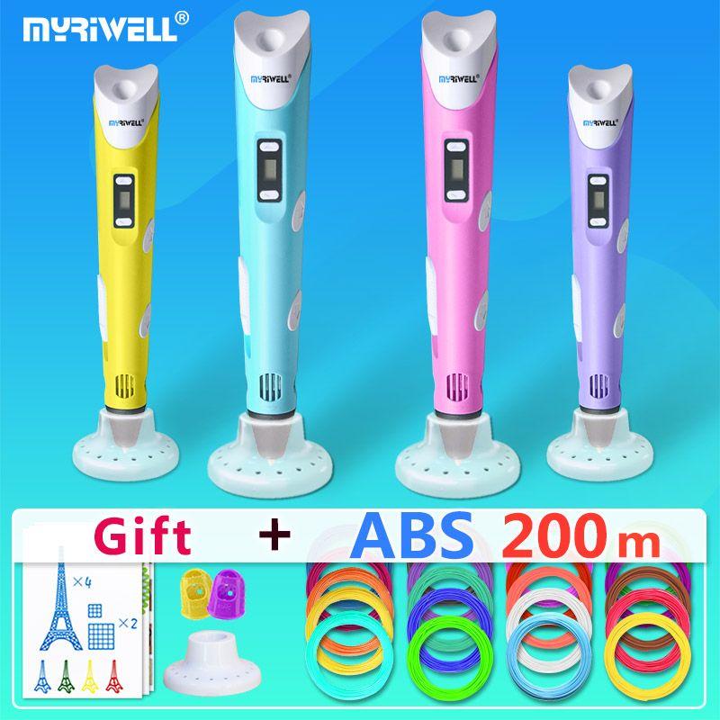 myriwell 3d pens + 20 * 10m ABS Filament, 3 d pen 3d model,Creative3d pen doodler,Best Gift for Kids,3d drawing pen-3d pen