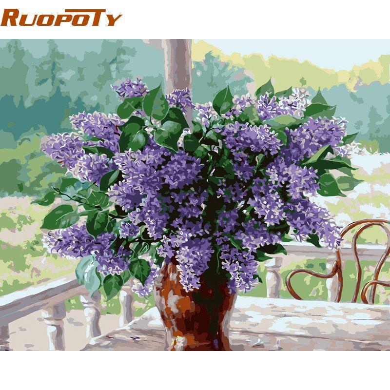 RUOPOTY fleur décor à la maison peinture à la main par numéros mur Art toile peinture peint à la main acrylique peinture Kits 40x50 cm maison œuvre