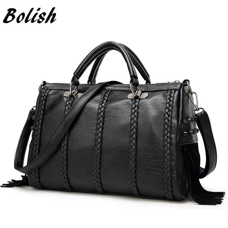Bolish Brand High Quality PU Leather Women Handbag Fashion Rivet Crossbody Bag European Style Tassel Female Shoulder Bag