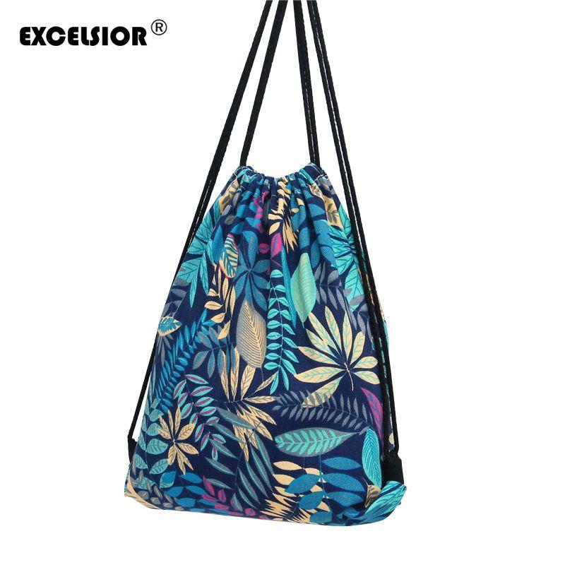 EXCELSIOR Fleur Imprimé Toile Cordon Sac Femmes Mochila Seau Voyage École Sac À Dos Casual Sac Pack Épaule Sacs