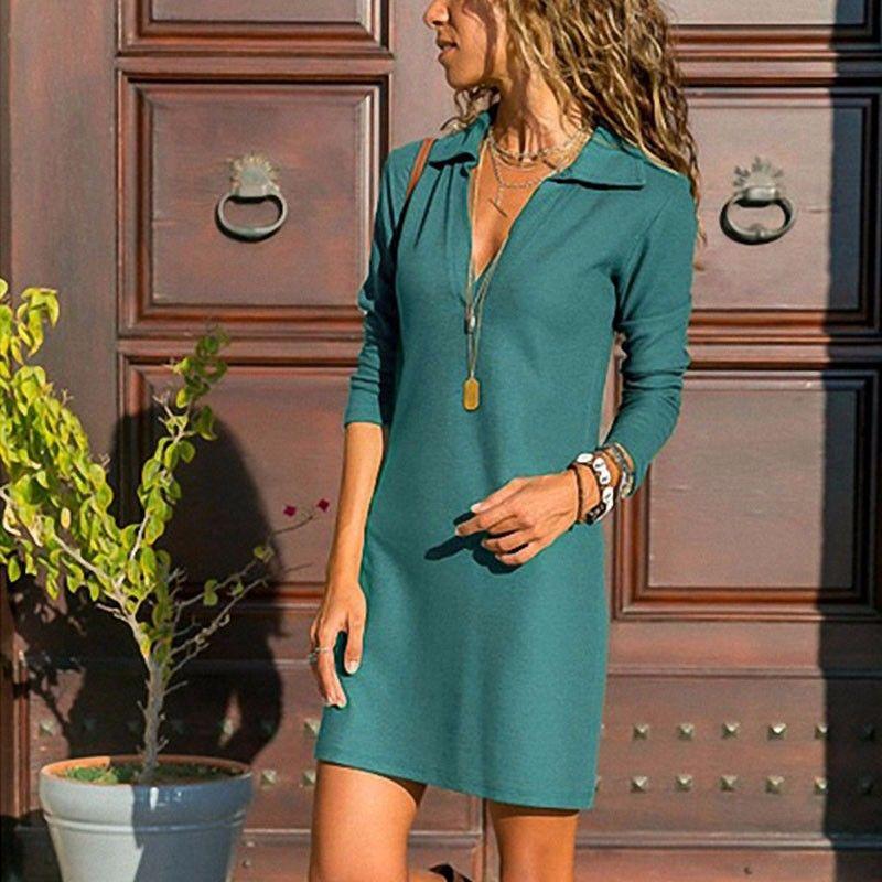 DeRuiLaDy Fashion Turn-down Collar Women Dress Female High Waist Long Sleeve Sexy Office Lady Dresses Casual Mini Dress Vestidos