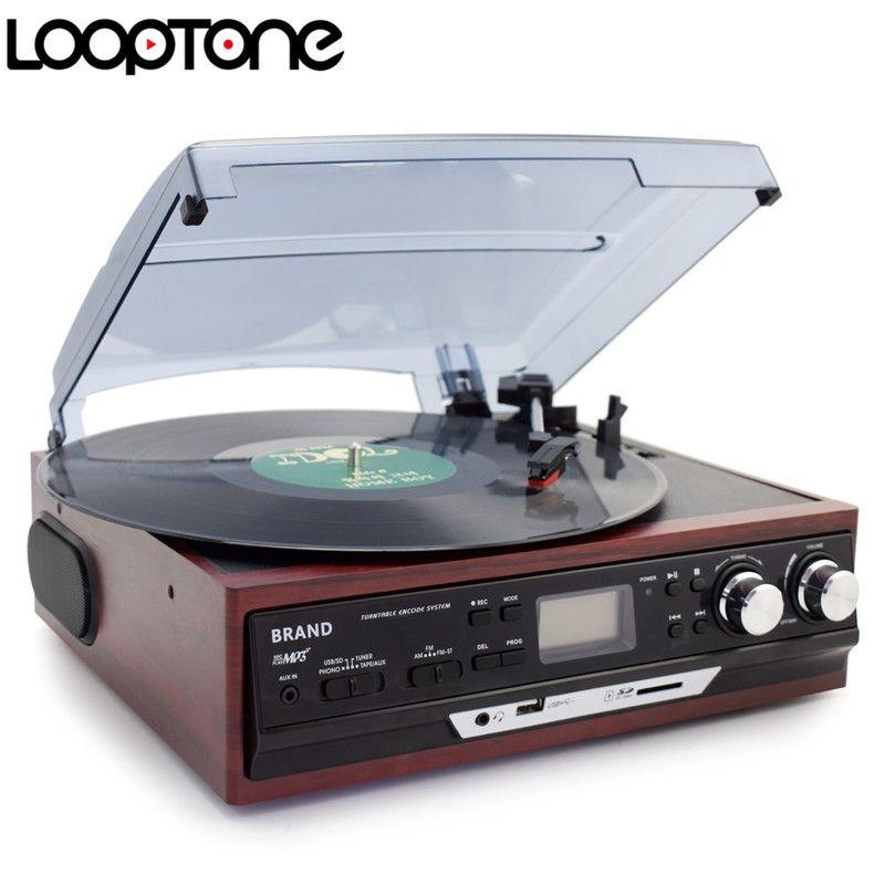 LoopTone Stéréo Phono Joueurs Turntable Vinyl LP Tourne-disque Avec AM/FM Radio USB/SD Aux Cassette MP3 enregistreur Casque Jack