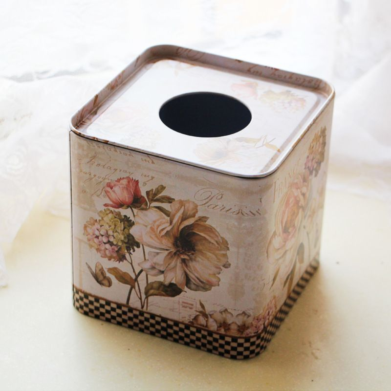 1 PC fleur carré étain boîte de papier de soie papier serviette boîte distributeur boîte de mouchoirs couverture cuisine rangement Organization NL 011