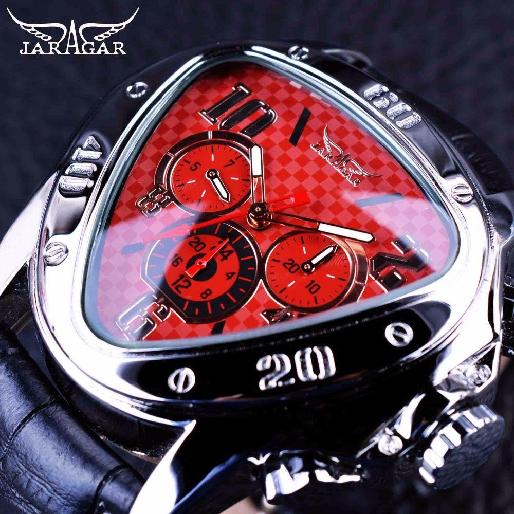 Jaragar 2016 Sport Racing Series Red Dial Moda Genuina Correa de Cuero Para Hombre Relojes de Primeras Marcas de Lujo Reloj Automático