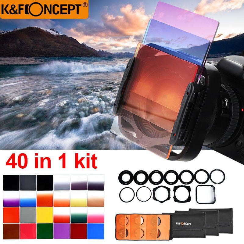 K & F CONCEPT 40 en 1 boîtier 24 pièces filtre carré gradué ND Kit de filtre couleur + 9 anneaux adaptateur + 2 support + pare-soleil + 4 housses pour appareil photo