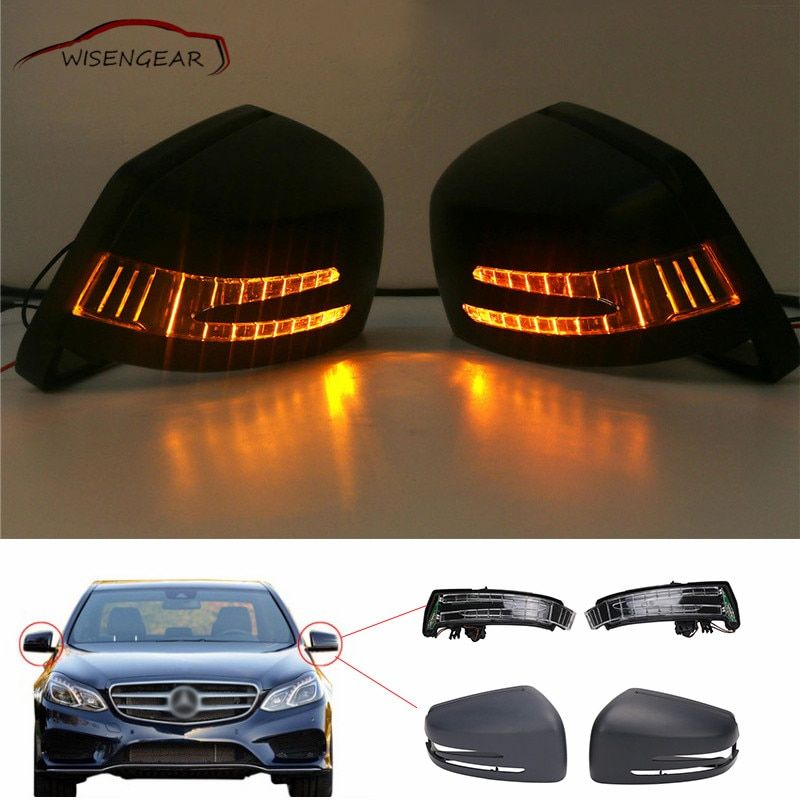 WISENGEAR 1Set Door Rear View Mirror Cover Cap + Turn Signal Light Lamps Parts For Mercedes Benz E C S Class W212 W204 W221 C/5