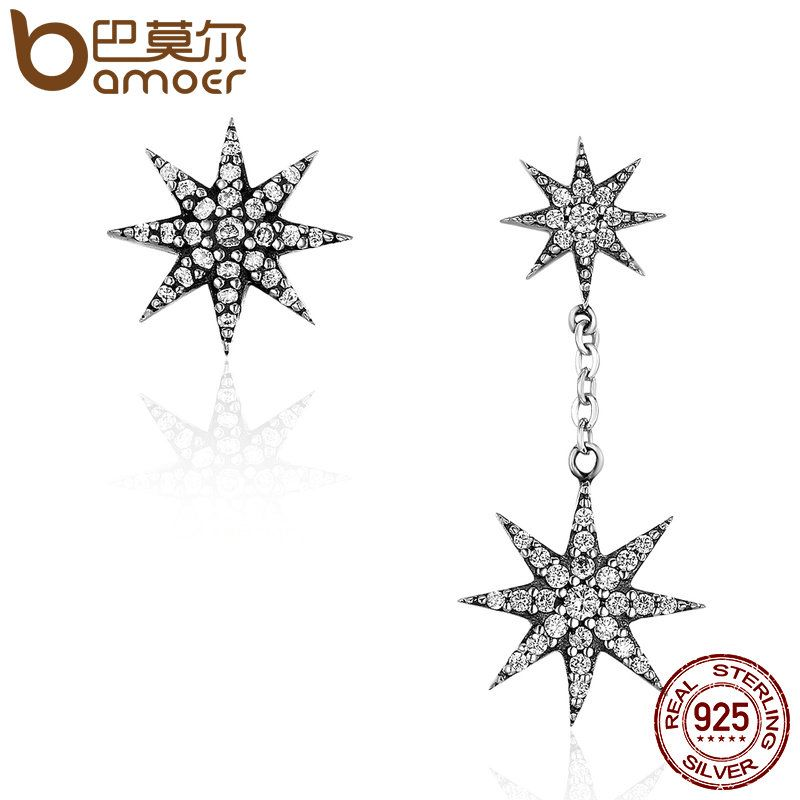 BAMOER Trendy 100% 925 Sterling Silver Sparkling Star & Snowflake Drop Earrings for Women Authentic Silver Jewelry Bijoux SCE108
