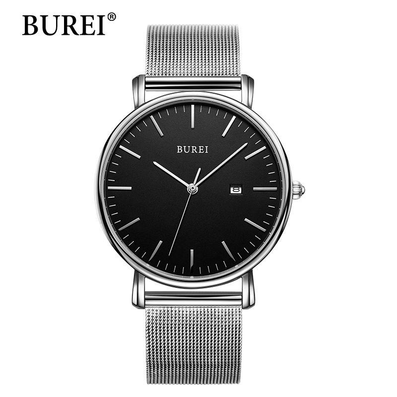 BUREI New Classic Women Fashi Watches Couple Lover Wristwatch Gift Black Steel Band Auto Date Quartz Hour Clock 19003 Hot Sale