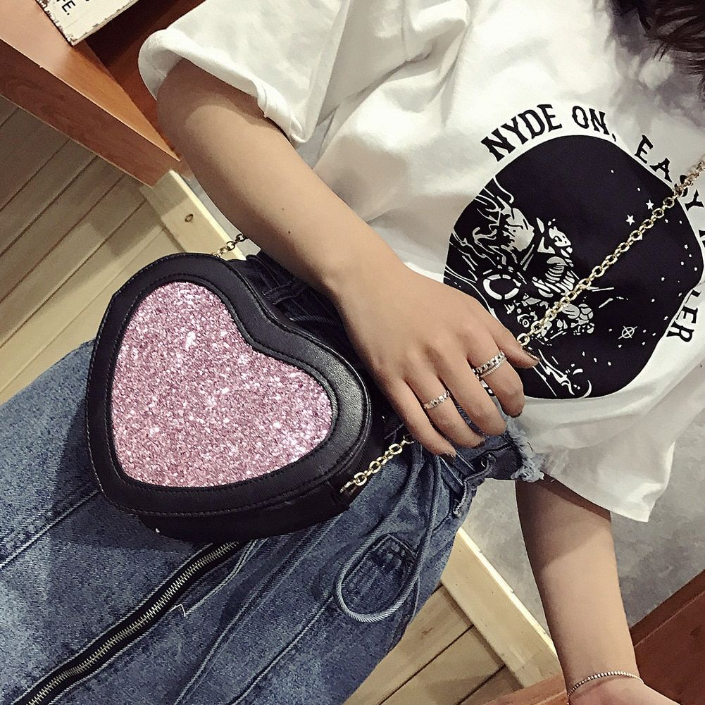 Новый Bling сумки в форме сердца Курьерские Сумки из искусственной кожи Для женщин сумка Девушка Bling Tote Crossbody мешок дизайнер bolso sac основные