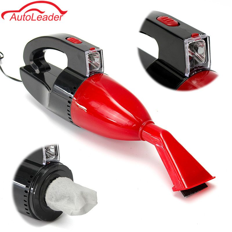 Red 60W 12V Car Power Portable Vacuum Cleaner Wet Dry Dual-use Super Suction Red Light Car Dust Collector Cleaning