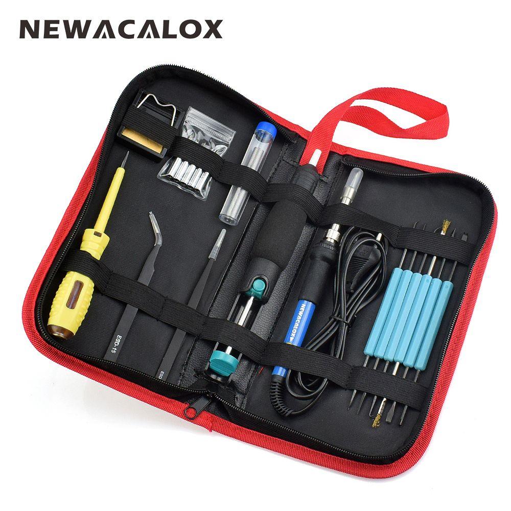 NEWACALOX UE 60 W 220 V Température Réglable À Souder Électrique Fer Kit De Soudage BGA De Réparation Sac À Outils Ensemble de Soudure Fil Crayon de Test