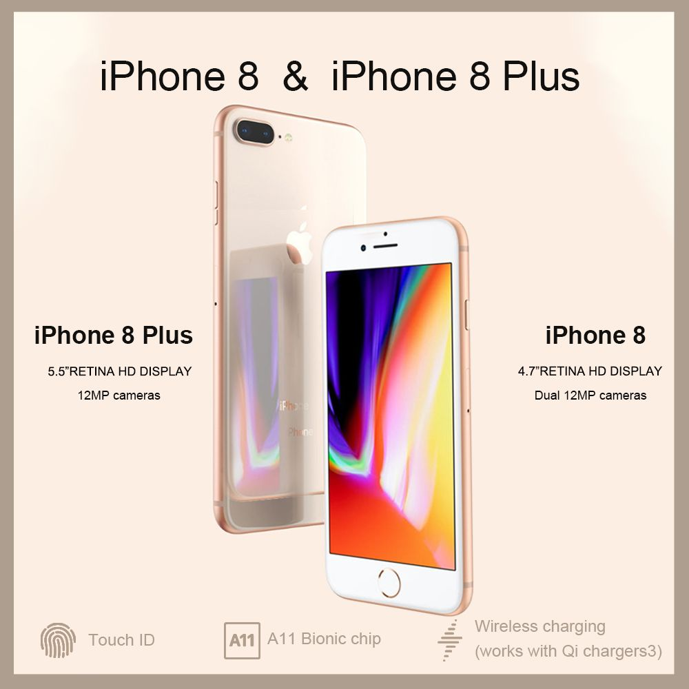 Entsperrt Neue Original Apple iPhone 8/8 Plus TouchID 4G LTE iOS 12MP Kamera 4,7/5,5