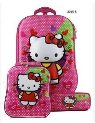 3D Kid Trolley Case Travel Rolling Suitcase for Kids Children Travel Luggage Bag School Backpack Kid's Trolley Bags with wheels