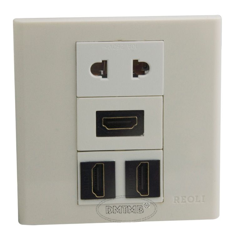 3 X HDMI, 1 X AC power Wall plate and support customer design
