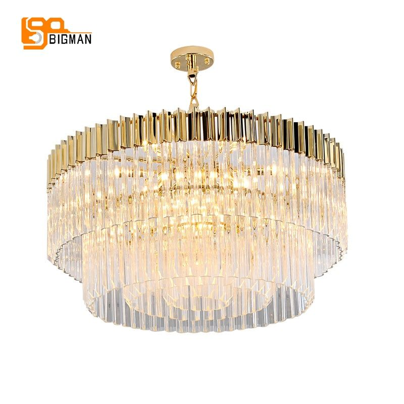 new design luxury crystal chandelier modern gold kroonluchter AC110V 220V lustre dinning room foyer lights