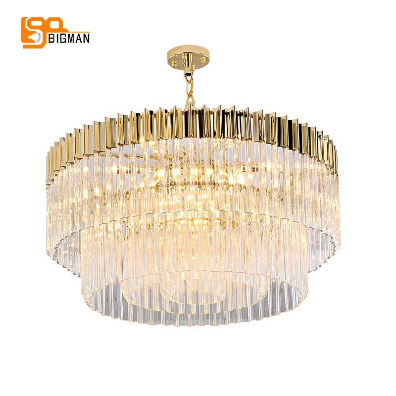 new design luxury crystal chandelier modern gold kroonluchter AC110V 220V lustre dinning room foyer lights