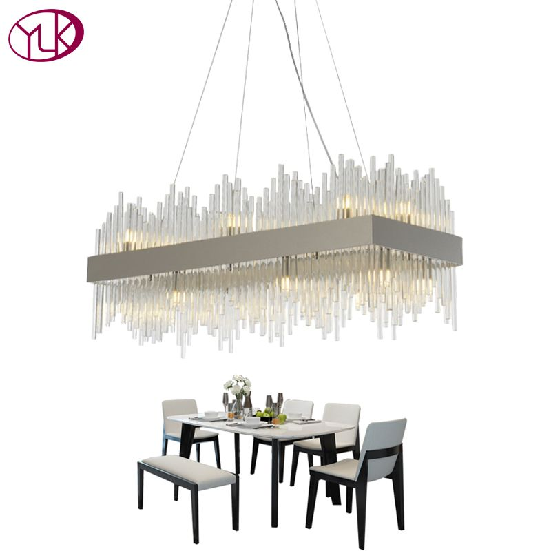 Youlaike Rectangle Modern Chandelier Lighting Luxury Dining Room Glass Lamp Polished Chrome Home Decoration Cristal Lamp Lustre