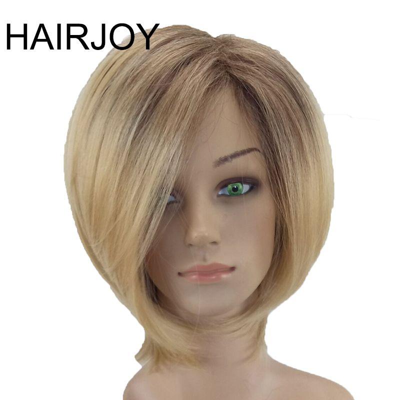 Hairjoy mujeres Pelo sintético peluca rubia ombre corto recta de alta temperatura Fibra 3 colores disponibles envío gratis