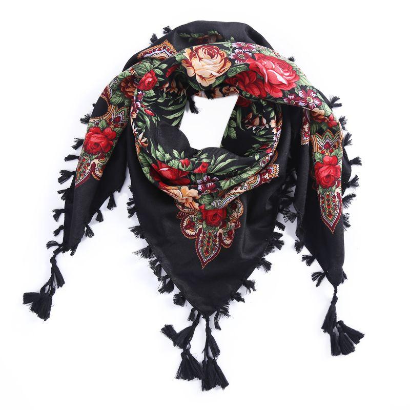 Россия новинка, Лидер продаж Wquare модные декоративные шарф ручной работы кисточкой Цветочный дизайн Шарфы для женщин Одеяло платок для Для ж...