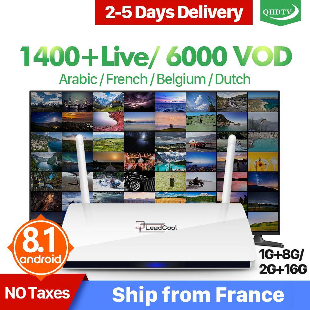 Leadcool IPTV France arabe QHDTV Box Leadcool Android TV récepteur RK3229 Quad-Core avec 1 an IPTV abonnement IPTV France