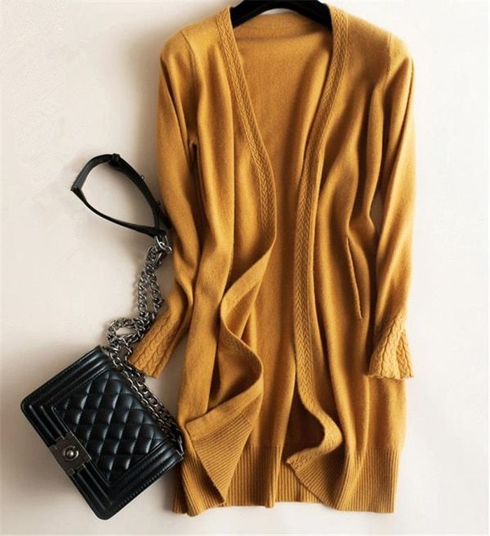 100%goat cashmere add thick jacquard knit women's fashion long cardigan sweater coat solid color S-2XL