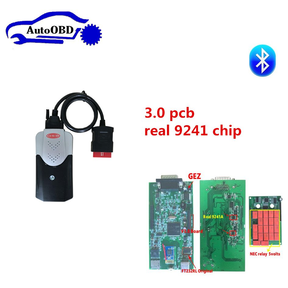 3.0 pcb 9241 chip new box for delphis vd ds150e cdp new vci tcs cdp pro +8 pcs car cables for autocoms can choose