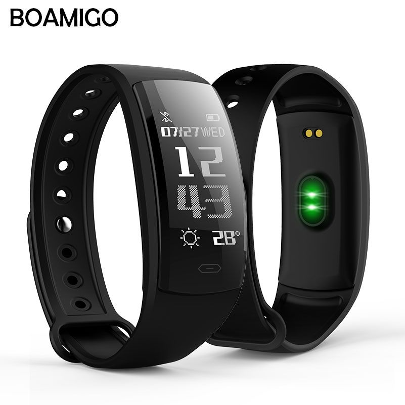 smart watch BOAMIGO brand bracelet wristband OLED heart rate message <font><b>reminder</b></font> pedometer calorie bluetooth for IOS Android phone