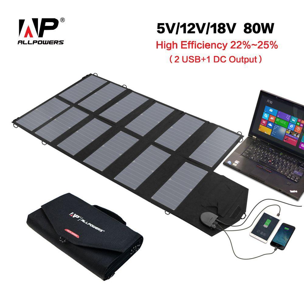 ALLPOWERS 80W Solar Charger 18V 12V Solar Panel Portable Solar Battery Charger for Mobile Phones Tablet Laptop 12V Car Battery