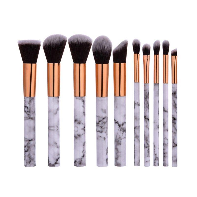 10 pcs Professnial Femmes Maquillage Brosses Extrêmement Doux Maquillage Brush Set Fondation Pinceau Poudre de Marbre De Beauté Make Up Outils