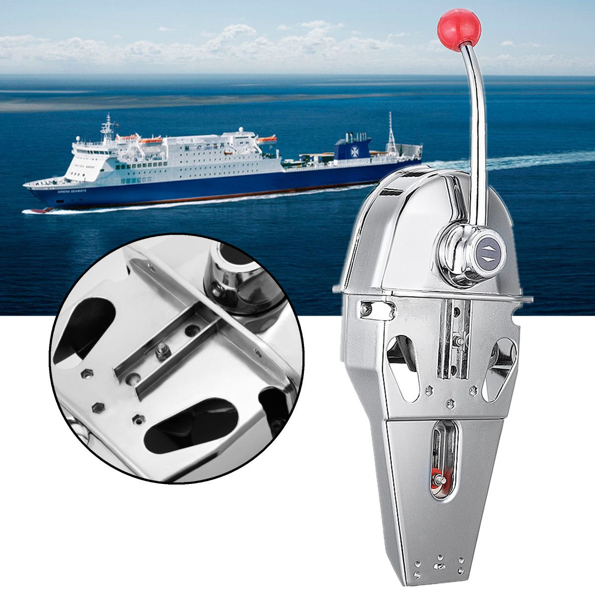 Top Mount Marine Boat Single Lever Handle Engine Control Box 316 Stainless Steel Dual Action Built-in Friction 45.5x15x12cm
