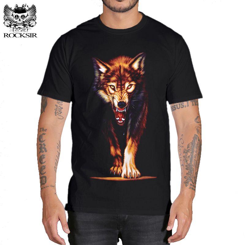 Rocksir 3d wolf t shirt hommes marque 3D indiens loup imprimé t-shirts coton loups hommes t-shirt décontracté homme t-shirts hauts pour hommes