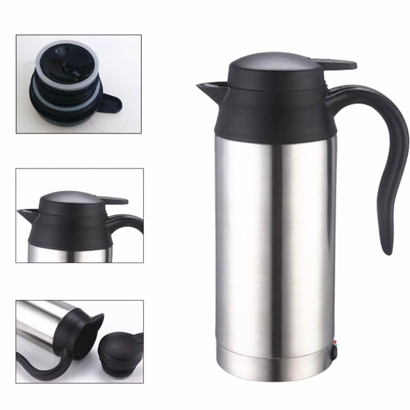 750ml 12V Car Based Heating Stainless Steel Cup Kettle Travel Thermoses Coffee Tea Heated Mug Motor Hot Water For Car Use