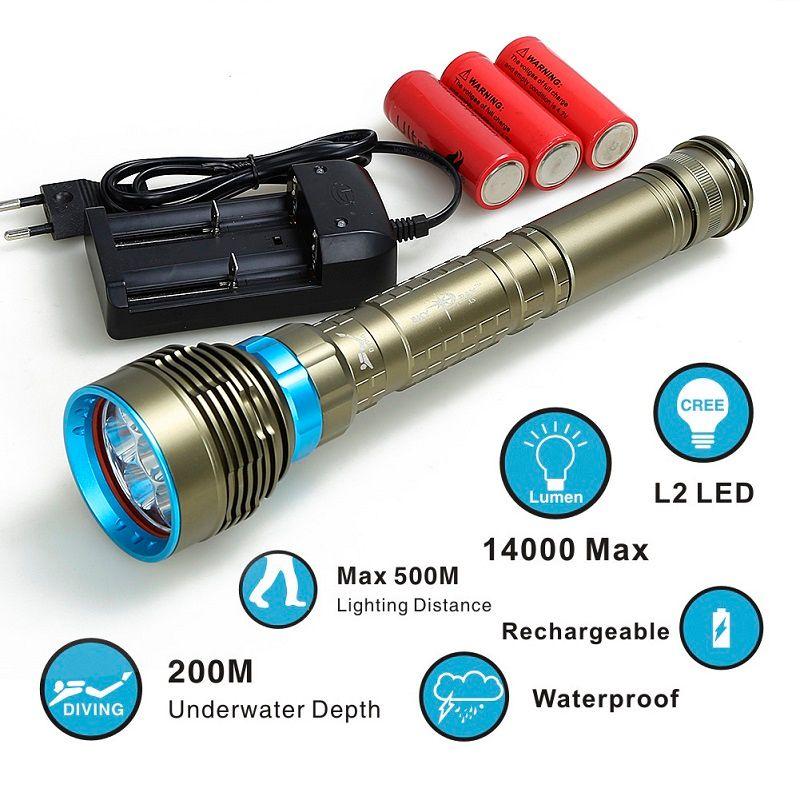 Diving flashlight 7x XML T6 L2LED Flashlight linternas Scuba Underwater 100M Flash Light Waterproof Lamp Torch 26650/18650
