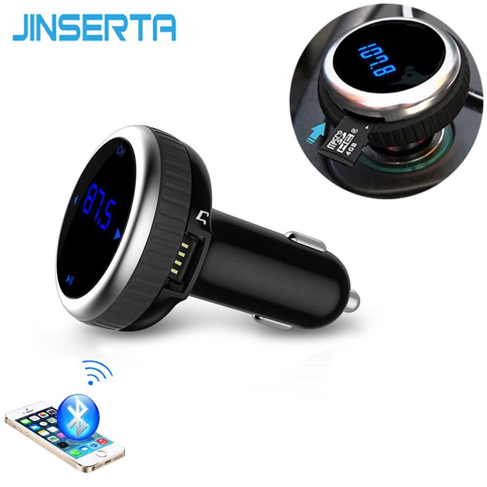 JINSERTA Car MP3 Audio Player Bluetooth FM Transmitter Without Remote Wireless FM Modulator Car Kit HandsFree LCD USB TF Reader