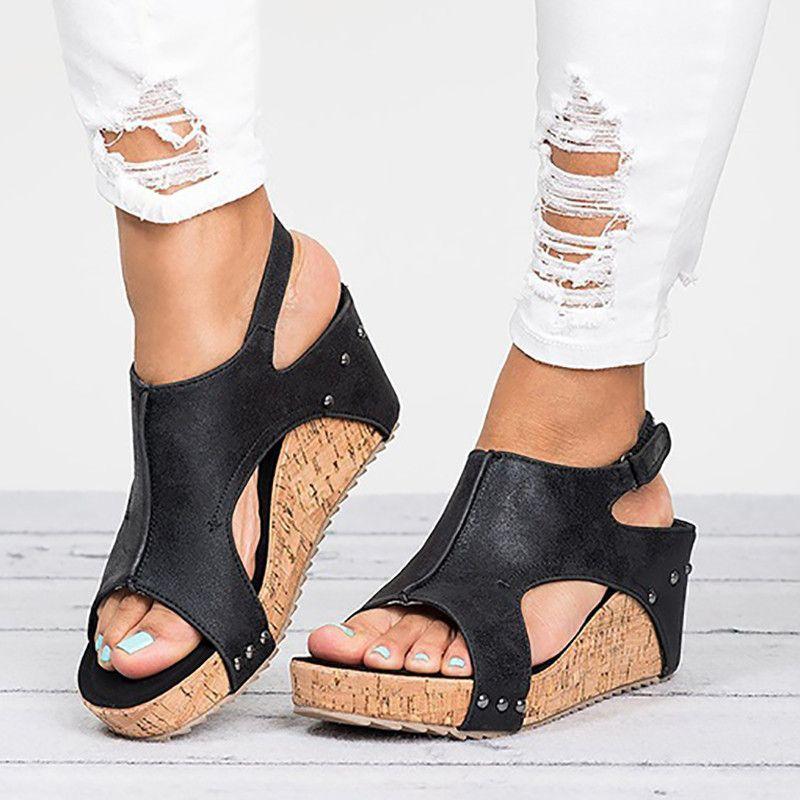 Été talons hauts bout ouvert femmes sandales Vintage rétro en cuir chaussures à semelles compensées mode gladiateur chaussures romaines femme Sandalia