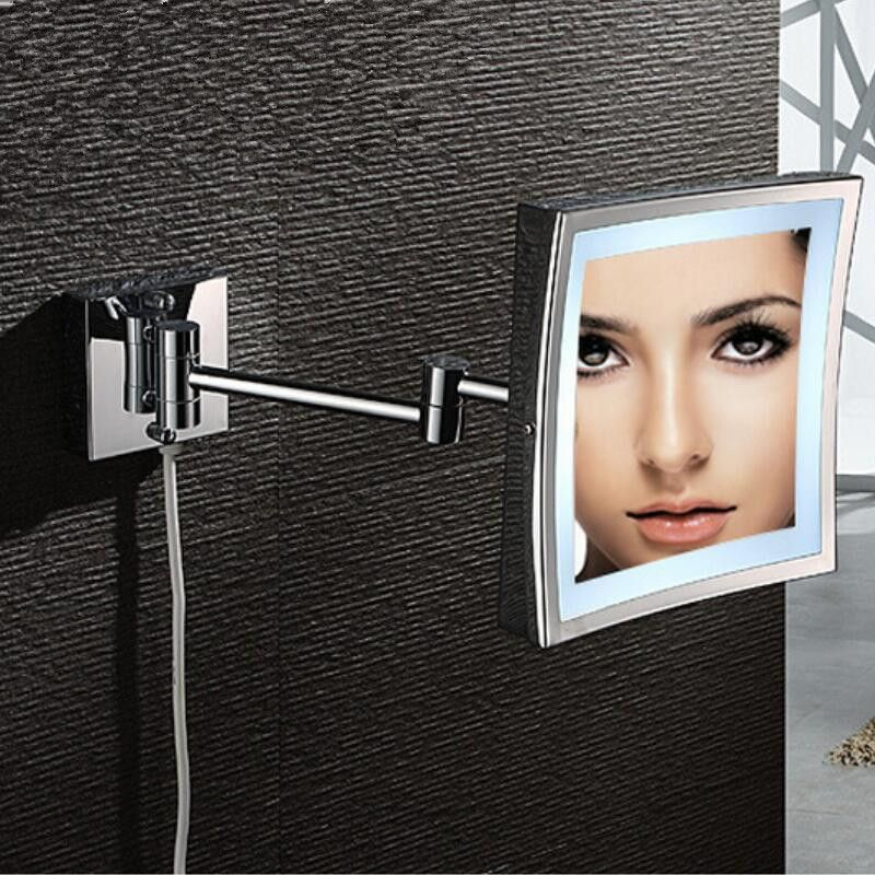 Bath Mirror Wall Mounted 8 inch Brass 3X Magnifying Dressing LED Mirror Folding Makeup Folding Cosmetic Mirror Bath Accessory