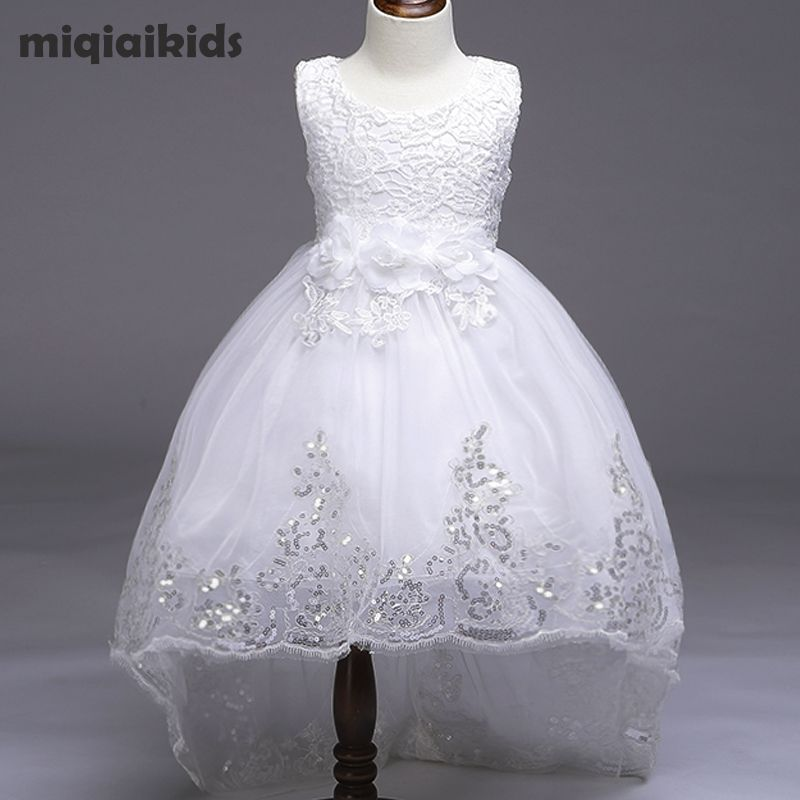 Retail 5 color 2018 New Arrival Summer Baby Girls Dress Wedding Dress <font><b>White</b></font> After Short Before Long Lace Cute Dress L8804