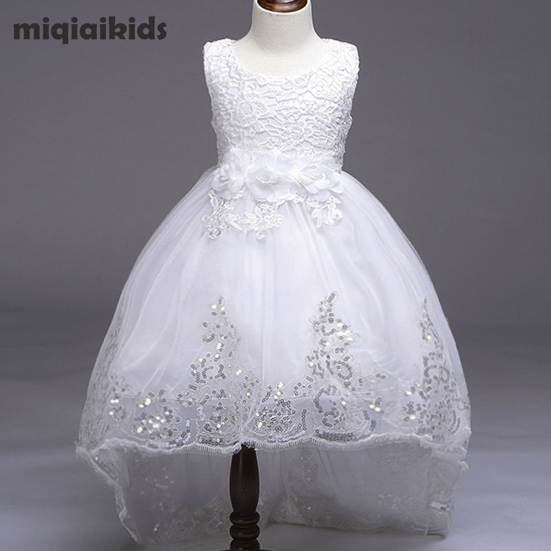 Retail 5 color 2018 New Arrival Summer Baby <font><b>Girls</b></font> Dress Wedding Dress White After Short Before Long Lace Cute Dress L8804