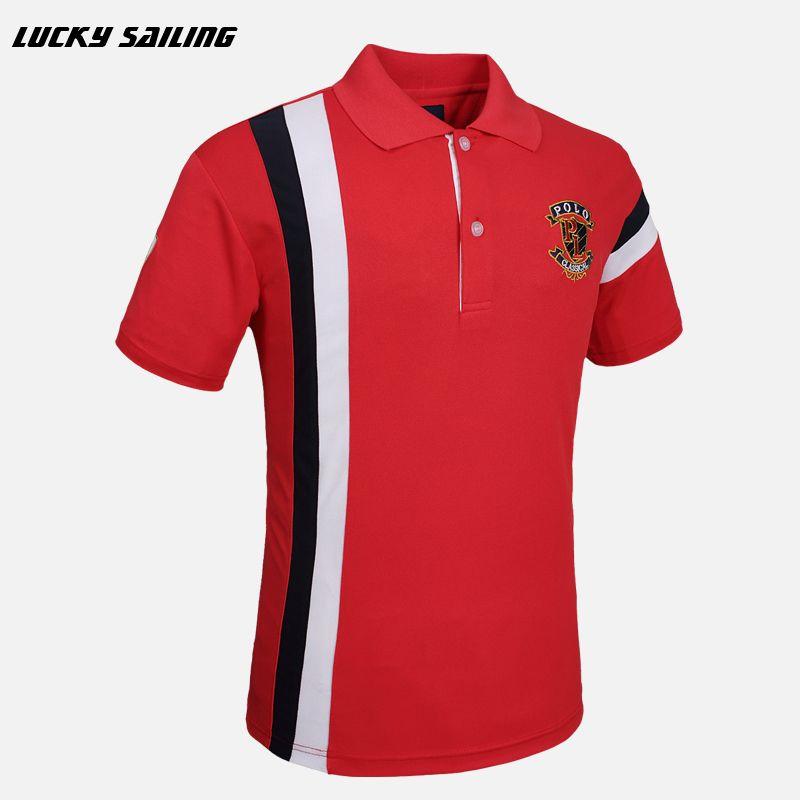 LUCKY SAILING Men's Brand T-Shirt 2016 Men Golf Polo cotton tops & tees Short Sleeve Golf Shirts Quick Dry Fit Plus Size M-XXXL
