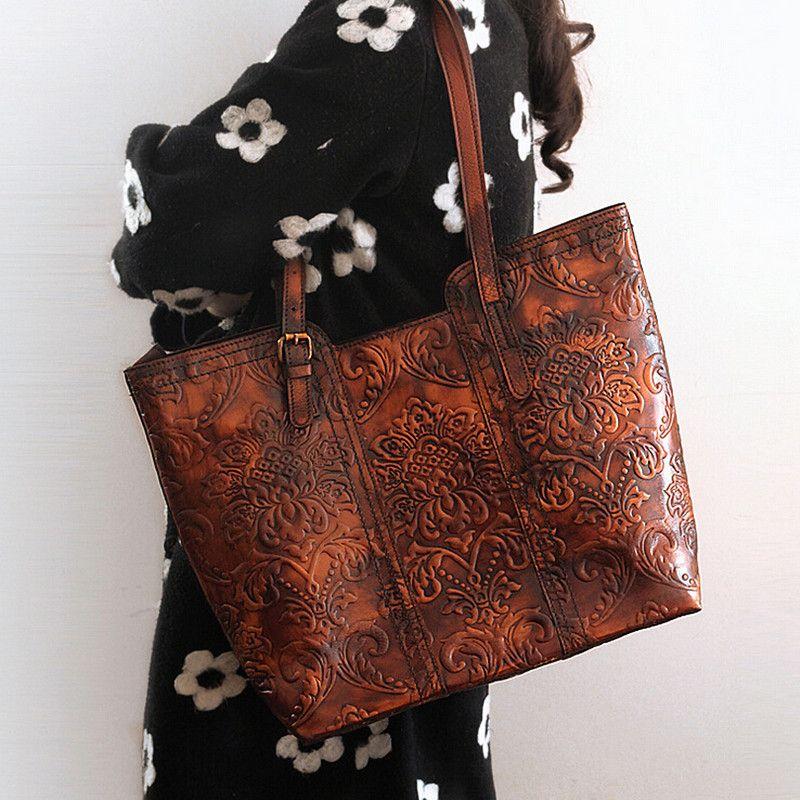 Высокое качество Пояса из натуральной кожи ручной работы Винтаж Для женщин один сумку гравировка Цветок тиснением Дизайн женские сумки Tote
