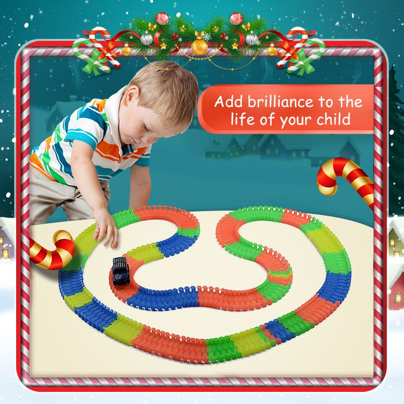 Railway road magical mini racing tracks glowing flexible stunt race track luminous toys for boys children's railroad slot cars