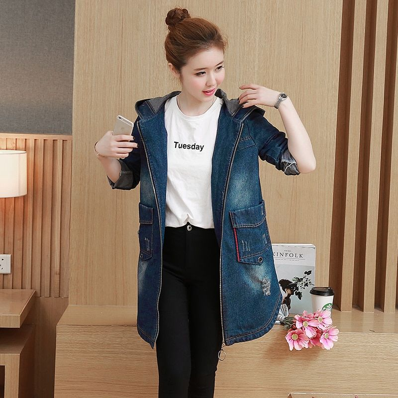 M-3XL 2017 Autumn New Fashion Vintage Ripped Oversized Jeans Jacket Coat Female Hooded Long Denim Jackets For Women 8309