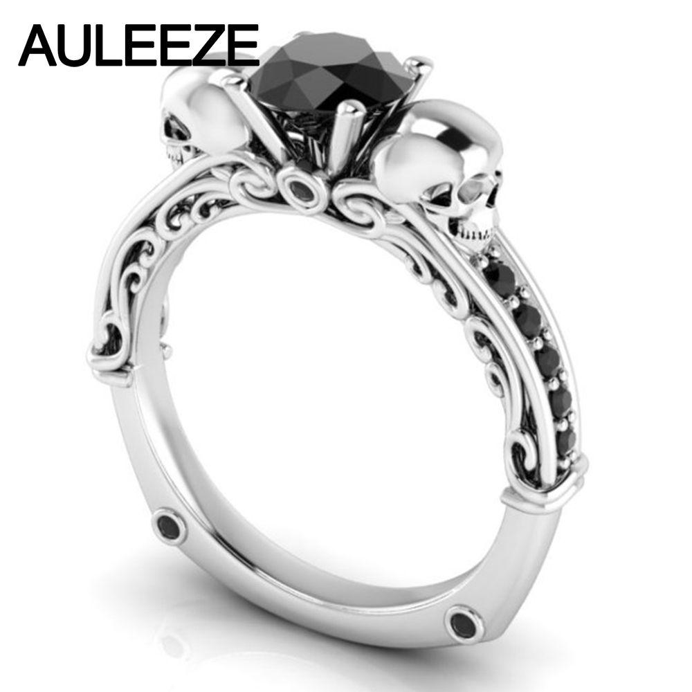 Halloween Filigree Wedding Band 10K White Gold Engagement Ring Natural Black Agate Ring Scrollwork Double Skull Alternative Ring