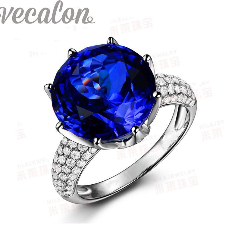 Vecalon fashion Crown wedding ring for women Round 8ct stone AAAAA Zircon Cz 925 Sterling Silver Engagement Band ring