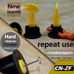 CN-ZF 50 Sets/Bag 1Pcs Tool Plastic Flat Ceramic Leveler Floor Construction Tools Wall Level Tile Leveling System Kits For Tiles
