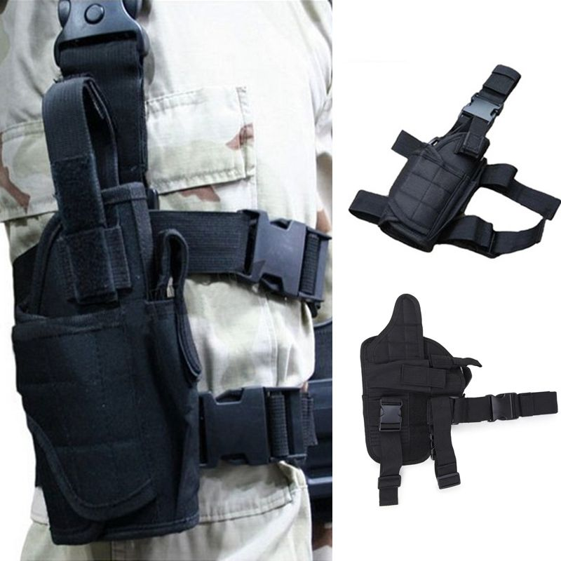 600D Nylon Military Style Paintball Leg Bag Gun Pouches Holsters Hunting Accessories Adjustable Tactical Pistol Bag