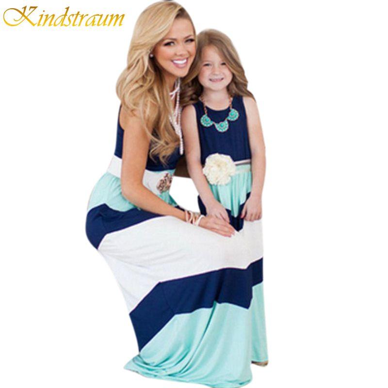 Kindstraum/2017 Одинаковая одежда для всей семьи платья для мамы и дочки одежда в полоску Летняя майка для мамы девочек детей, mc087